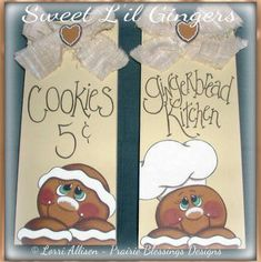 The Sweet Lil Gingers pattern includes two cute little gingers, including a little gingerbread chef! These are quick projects to paint up, and are perfect for any country kitchen! The PDF file includes colour photos, supply list, painting instructions, and line drawing. You are