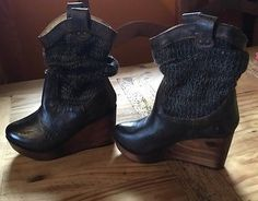 Bed Stu Black Leather Lux Distressed Bruges Wedge boots 6.5
