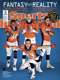 Peyton Manning (18), who is the No. 3 ranked fantasy quarterback, along with Wes Welker (83) (No. 14 wide receiver), Demaryius Thomas (88) (No. 6 wide receiver) and Eric Decker (87) (No. 15 wide receiver), appear on the national cover of Sports Illustrated.