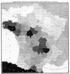 Illiteracy in France 1826 by Charles Dupin (first map using choropleth shading)