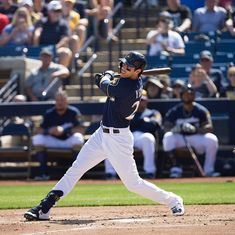 Milwaukee Brewers: What could be better than a HR? A HR with a Bo… Bae, Cincinnati Reds Baseball, Christian Yelich, American Games, Baseball Pictures, Baseball Boys, Derek Jeter, Oakland Athletics, Milwaukee Brewers