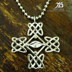 Depeche Mode Dave Gahan's cross tattoo sterling silver pendant. Handmade by Mirit Arad.