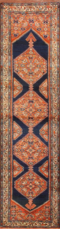 Antique Tribal Persian Malayer Runner Rug 50677