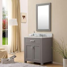 Water Creation 30 in. W x 21 in. D x 34 in. H Vanity in Cashmere Grey with Marble Vanity Top in Carrara White-Madison 30G - The Home Depot