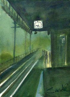 Waitin' on a Train : Impressionist : Signed LE Art Print : Sandra Watercolors #Impressionist Ventura California, Night Train, Cold Night, Art Prints For Sale, Affordable Art, Home Decor Wall Art, Watercolor Print, Impressionist, Watercolors