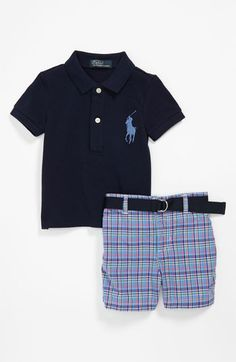 I'm not a huge Polo fan as too many people dress their kids in it, and their clothing is not organic-but I still like Max to have a couple polos in his wardrobe to match dad so we ordered this cute spring outfit... Ralph Lauren Polo & Shorts (Infant) available at #Nordstrom