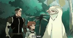 I love this so much. Shiro and Pidge's friendship means so much to me. I love this gif because Shiro literally picks up Pidge as she scrambles behind him. Shiro also at the end gets into a small fighting stance.