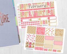 Febrero mensual Sticker Set - planificador mensual ver pegatinas, Erin Condren Vertical Horizontal y cada hora los planificadores, feliz, etiquetas engomadas del planificador