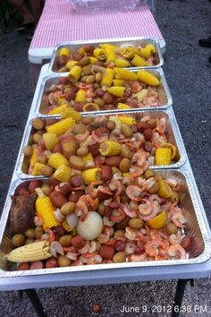 Low Country Boil.  Worked great for beach themed wedding rehearsal dinner.