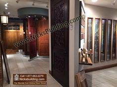carved door in showroom