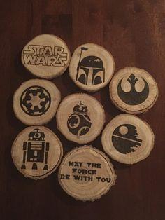 Star Wars Tree Slice Wood Burned Coasters by IMadeThatbyNicole