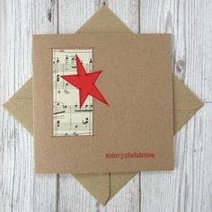 Set of 5 Sheet Music Christmas Cards Simple Christmas Cards, Homemade Christmas Cards, Christmas Tag, Xmas Cards, Christmas Crafts, Christmas Decorations, Sheet Music Art, Vintage Sheet Music, Merry Christmas Greetings