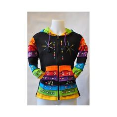 Very unique, multicolor, cotton zip-vest with long funky hood and easy front pockets.