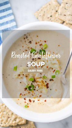 A dreamy and luxurious Roasted Cauliflower Soup, made by roasting cauliflower and garlic for a deep, sweet base. This healthy cauliflower soup recipe is kept dairy free with an easy cashew base. Creamy Cauliflower Soup, Cauliflower Soup Recipes, Paleo Soup, Vegan Cauliflower, Healthy Soup, Whole Roasted Cauliflower, Cream Soup Recipes, Cream Soups, Sugar Free Bacon