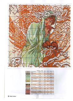 Borduurpatroon Kruissteek Mucha *Embroidery Cross Stitch Pattern ~The Seasons: Winter (1896)  2/3~