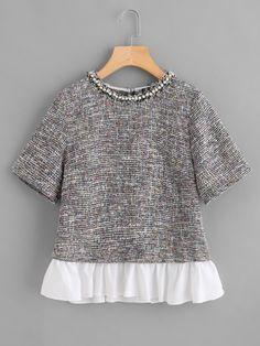 53502d4942bd Shop Contrast Ruffle Hem Pearl Detail Tweed Top online. SheIn offers  Contrast Ruffle Hem Pearl