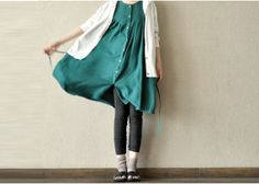 cotton green dress  /  women cotton loose  formal skirt  long dress / sundress  for girl's AOLO-226