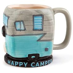 HILARIOUS COFFEE MUG: Coffee makes people happy campers. BigMouth Inc's The Happy Camper Coffee Mug is no different. This 16 oz coffee mug is the perfect way to start your day! Gifts For Rv Owners, Rv Gifts, Gifts For Campers, Happy Campers, Best Gifts, Unique Gifts, Retro Travel Trailers, Retro Campers, Happy Coffee