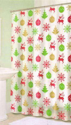 Christmas Shower Curtain Reindeer & Matching Tree Hook Set #SplashHome #Holiday