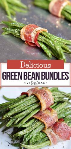 Bacon Green Bean Bundles with Brown Sugar Glaze makes a great side dish for Christmas dinner or appetizer for your football parties! This recipe is made with green beans wrapped in crispy bacon and glazed with buttery brown sugar. Save this pin! Vegetables For Christmas Dinner, Christmas Dinner Side Dishes, Side Dishes Easy, Vegetable Side Dishes, Vegetable Recipes, Bacon Wrapped Green Beans, Green Beans With Bacon, Delicious Green Beans, Delicious Food