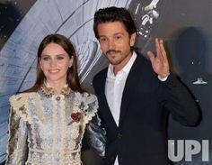 "Actor Diego Luna and actress Felicity Jones(L) attend the red carpet event for the film ""Rogue One : A Star Wars Story"" in Tokyo, Japan on…"