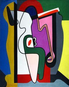 Composition (3), huile sur toile de Auguste Herbin (1882-1960, France)