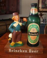 Vintage Heineken Beer Dutch Boy & Bottle Store Counter Bar Display Sign