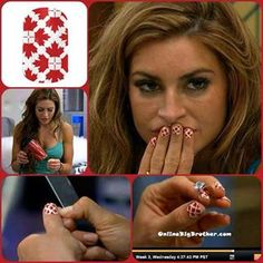Elissa Riley wearing Oh Canada Jamberry Nails on Big Brother! www