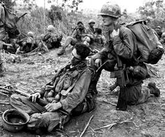 Dak To, South Vietnam, June, 1966: Weary troops from the 101st Airborne Division rest after fighting their way out of nearly complete encirclement by North Vietnamese forces during Operation Hawthorne.: