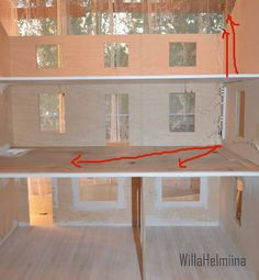 How to hide dollhouse electricity.  I hide the electricity under the floorboard. Later on i´m going to do a fake wardrobe, that hides inside lighting track.