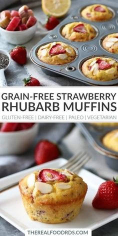 Grain-free Strawberry Rhubarb Chia Muffins | gluten-free muffins | dairy-free muffins | paleo muffins | vegetarian muffin recipe | healthy breakfast recipe | easy breakfast recipe || The Real Food Dietitians #glutenfreemuffins #healthybreakfast