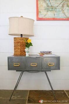 Metal Card Catalog to Side Table Makeover