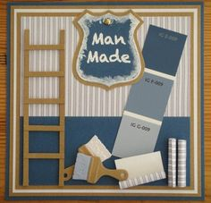 handmade card ... fix-it-man card .. ladder, faux paint chips , paint brushes ... great card for a man!