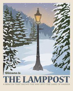 The Chronicles of Narnia. The Lamppost. Hogwarts, Mr Tumnus, Poster Minimalista, Plakat Design, Printing Websites, Vintage Landscape, Cs Lewis, Chronicles Of Narnia, Vintage Travel Posters