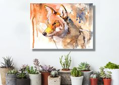 animal painting, coyote, animal art, gift for her, watercolor painting, desert, arizona, watercolor print, orange, Coyote, canvas, 16x20