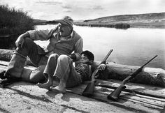 Ernest Hemingway and his son Gregory. Sun Valley, October 1941. photo by Robert Capa