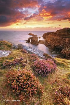 Sunset over Land's End, Cornwall, England, UK.