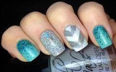Cute blue and chevron nail design