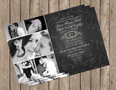 Chalkboard Wedding Invitation Photo Card by MissBlissInvitations, $15.00