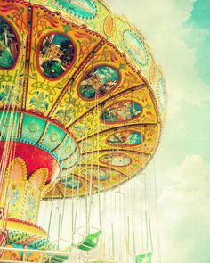 Art for nursery, carnival photography, swing ride, children's art, teal gold turquoise sky Carnival Photography, Photography Camera, Childrens Wall Art, Poster Prints, Art Prints, Posters, Circus Theme, Kids Room Art, Teal And Gold