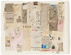 """LENORE TAWNEY ~ """"Izio"""" (1984) collage of various printed and cut papers, watercolor, ink and gold leaf on paper 7 1/4"""" x 8 5/8"""" via Michael Rosenfeld Gallery"""