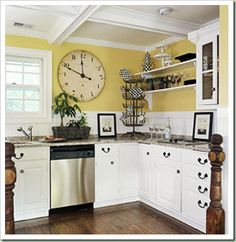 4 Attentive Tips AND Tricks: Kitchen Remodel Modern Home Tours kitchen remodel design tile.Kitchen Remodel With Island Breakfast Nooks large kitchen remodel farmhouse sinks. Black Kitchen Island, White Kitchen Cabinets, Kitchen Cabinet Design, Kitchen White, White Cupboards, Yellow Cabinets, White Appliances, Dark Cabinets, Country Kitchen