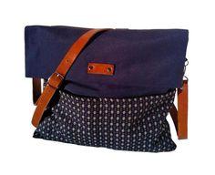 Blue Canvas Messenger Bag / Leather Strap / School / by 13sferas