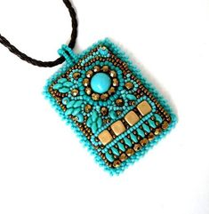 Bead embroidered pendant necklace handmade beaded necklace turquoise and bronze embroidery necklace Gift for Mother's Day