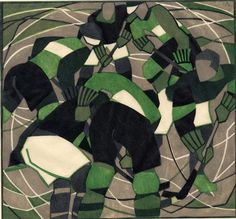 Lill Tschudi (Swiss, Ice Hockey Linocut printed in black, green and greyish beige, a strong and vibrant impression, on off-. Harlem Renaissance, Sybil Andrews, Hockey Decor, Art Deco, Linocut Prints, Art Prints, Ice Hockey, American Artists, Wood Print