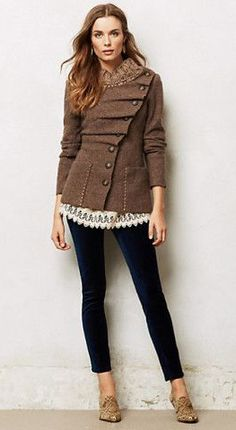 Yes, yes, and YES! I like the jacket, the lace peeking out underneath, the velvet leggings and even the shoes!