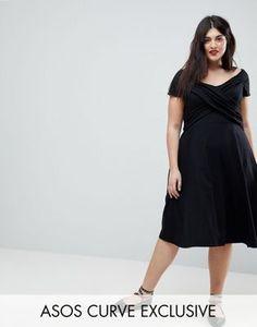 ASOS CURVE Bardot Midi Skater Dress With Ruched Front Midi Skater Dress 3ceba131d