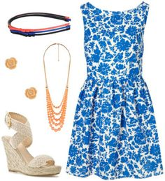 Blair Waldorf inspired summer outfit 3: Blue dress, espadrille wedges, necklace, headband, stud earrings