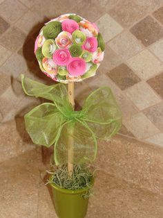 Pink and Green Paper Rose Flower Topiary Party or by CreativeGoodz,.00