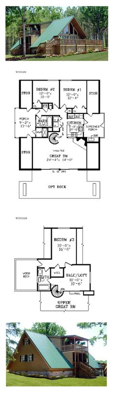 A-Frame House Plan 69504 | Total Living Area: 1396 sq. ft., 3 bedrooms and 2 bathrooms. #aframe
